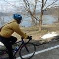 残雪の余呉湖