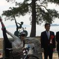 左から 池永 滋賀県副知事、田中セシルさん、宮本 守山市長、中村 ジャイアント・ジャパン社長